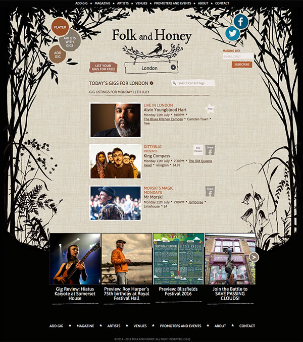 Folk and Honey - London Web Design