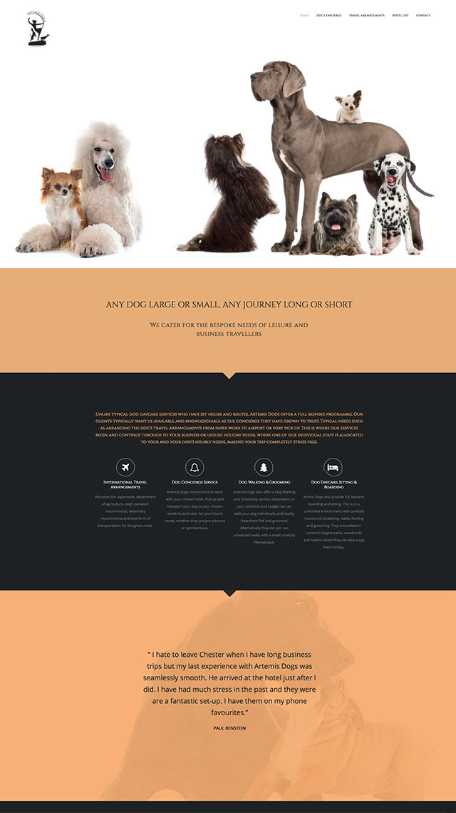 Artemis Dogs - London Web Design