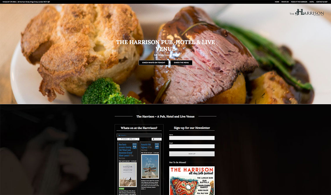 The Harrison Bar & Restaurant - London Web Design